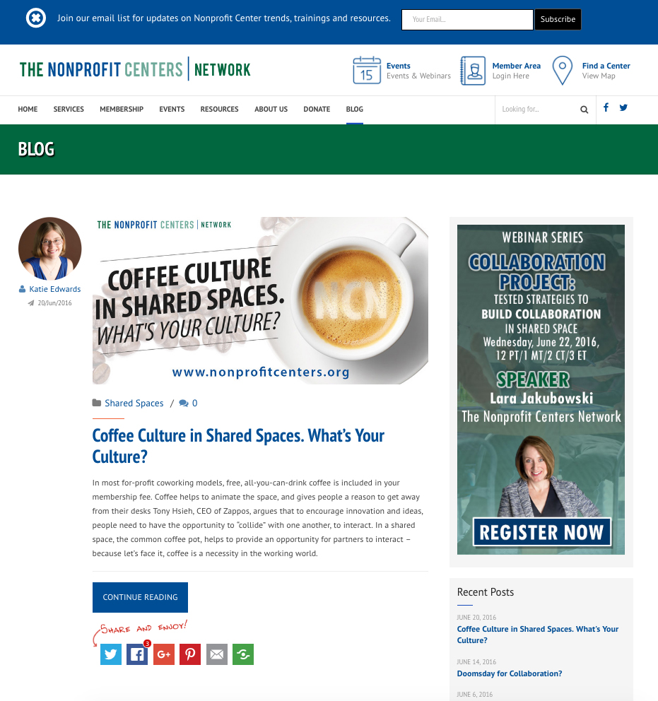 Nonprofit Centers Network – Site Redesign