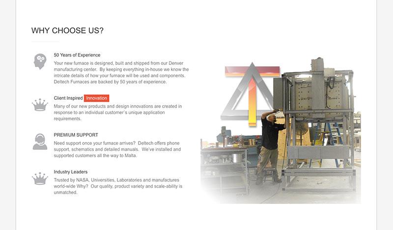 Deltech Furnaces – Website Redesign